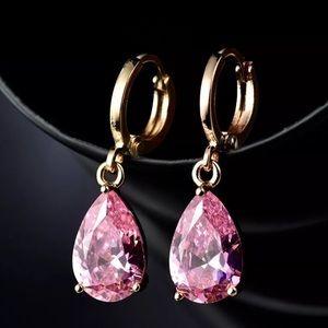 Pink Topaz 18K Gold Filled Drop Earrings!